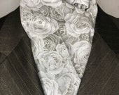 Four Fold Stock Tie, Foxhunting Traditional Stock Tie, Horse Show Stock, Silver and Grey Roses with metallic detail, High Quality Cotton