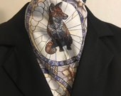 Four Fold Stock Tie, Foxhunting Traditional Stock Tie, Mosaic Stained Glass Fox