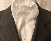 76 inch Pretty Eyelet Lightweight Cotton White Four Fold Stock Tie, Formal White Stock Tie, Traditional Foxhunting Stock Tie