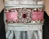 Rose Pink Satin Ribbon and Silver Trim, Silver Metallic Cotton Stock Tie Pin Included, Dressage Stock Tie, Eventing Stock Tie