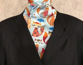 Four Fold Stock Tie, Foxhunting Traditional Stock Tie, Horse Show Stock Tie, Unique and Fun!! Funkadelic Foxes on Light Blue