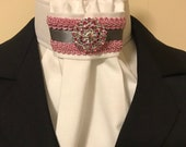 Dark Silver Grey Satin with Pink braid trim on White Stock Tie, Bling pin or choose different one, Dressage Stock Tie, Eventing Stock Tie