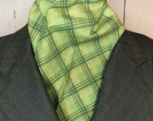 Green Plaid Four Fold Stock Tie, 80 inch length, Foxhunting Stock Tie, Traditional Four Fold Stock Tie, Horse Show Stock Tie