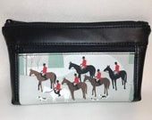 Zipper pouch with front zip pocket, foxhunting horse rider foxhounds scene print,  Double zipper clutch purse black vinyl faux leather
