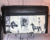 Wristlet purse with front zip pocket, double zipper pouch, horses and carriage driving print on cream, black soft faux leather, clutch purse