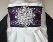 Purple and Silver Satin Ribbon and Trim, White Cotton Stock Tie, Pin Included, Dressage Stock Tie, Eventing Stock Tie