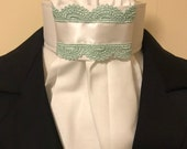 Mint green lace & Satin ribbon on White Cotton Stock Tie - You can choose bling pin, Dressage Stock Tie, Eventing Stock Tie, Horse Show Tie