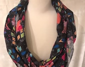 Colorful Abstract Scarf, Artistic Modern Scarf, Infinity Scarf, Super Soft Cotton Fabric Scarf