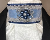 Navy Blue Satin And Organza Ribbon w silver, navy trim on White on white print Stock Tie Pin Incld, Dressage Stock Tie, Eventing Stock Tie