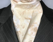 Four Fold Stock Tie, Foxhunting Traditional Stock Tie, Horse Show Stock, Beige Wild Roses, High Quality Cotton