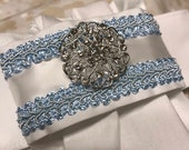 Light Blue trim White Satin trim on White Stock Tie, choose a bling brooch, Dressage Stock Tie, Eventing Stock Tie, Horse Show Tie, Pre-tied