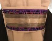 Purple trim with beading with Dark Grey on Light Grey Stock Tie, Dressage Stock Tie, Eventing Stock Tie, Horse Show Tie - Handmade Pre-tied