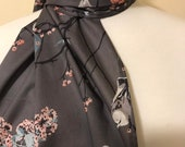 Scarf, long rectangular, Grey with birds and flowers, Modern Designer Cotton Voile lovely soft silky fabric