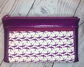 Magenta Glitter Vinyl wristlet or clutch bag with birds in flight. Zipper pouch with front zip pocket, double zipper clutch