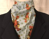 Four Fold Stock Tie, Foxhunting Stock Tie, Traditional Four Fold Stock Tie, Horse Show Stock Tie, Roses and Butterflies with Polka Dots
