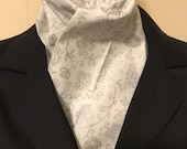 Four Fold Stock Tie, Foxhunting Traditional Stock Tie, Horse Show Stock Tie, Designer Cotton Fabric white with metallic silver floral design