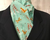 Four Fold Stock Tie, Foxhunting Stock Tie, Traditional Four Fold Stock Tie, Horse Show Stock Tie, Foxes in Foxgloves on Mint Turquoise