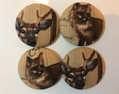 SET OF FOUR Fabric covered button magnets - fox and deer magnets 1 7/8 inch diameter
