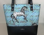 Shoulder Handbag Tote with Leopard Appaloosa Horse and Black Faux Leather