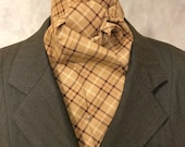 Four Fold Stock Tie Brown and Cream Plaid Foxhunting Traditional Stock Tie Horse Show Unique and Fun!!