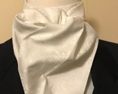 Four Fold Stock Tie, Formal White Stock Tie, Traditional Foxhunting Stock Tie, White on White Snowflakes 72 inch long