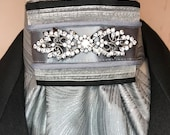 Silver and Black with Grey Trim, Silver Grey Metallic Cotton Stock Tie, Pin Included, Dressage Stock Tie, Eventing Stock Tie
