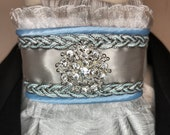 Silver Satin Ribbon w Light Blue Trim, White with Silver Metallic Cotton Stock Tie Pin Included, Dressage Stock Tie, Eventing Stock Tie