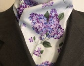Purple Lilacs Four Fold Stock Tie, Foxhunting Traditional Stock Tie, Horse Show Stock Tie, Gorgeous Florals