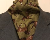 70 or 72 inch LAST ONES Four Fold Stock Tie, Foxhunting Traditional Stock Tie, Designer Cotton Fabric Dark Olive Green with Horses