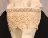 Cream Lace and Pearl beads on Cream Stock Tie, Dressage Stock Tie, Eventing Stock Tie, Horse Show Tie - Handmade Unique Cotton