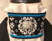 Black and white print with aqua blue piping and bling pin on White Stock Tie, Dressage Stock Tie, Eventing Stock Tie, Horse Show Tie