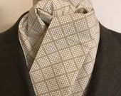 Four Fold Stock Tie Foxhunting Traditional Stock Tie Horse Show Unique and Fun!! White dotted diamonds on tan beige neutral background