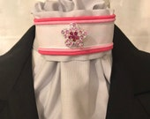 Pink piping and sparkly ribbon on Light Grey Stock Tie, Dressage Stock Tie, Eventing Stock Tie, Horse Show Tie, Pre-tied, choose bling pin