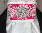 Hot Pink Satin Ribbon with Lace Trim on White Stock Tie Pin Included, Dressage Stock Tie, Eventing Stock Tie, Horse Show