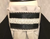 Black and White on Light Grey Stock Tie, Dressage Stock Tie, Eventing Stock Tie, Horse Show Tie, Pre-tied, Handmade Unique