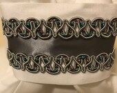 Silver & Rainbow trim with Dark Silver Grey Satin on White Cotton Stock Tie - You can choose bling pin, Dressage Stock Tie, Eventing Stock