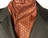 Four Fold Stock Tie, Foxhunting Traditional Stock Tie, Horse Show Stock Tie, Metallic Copper Geo Stars on Rust, High Quality Cotton