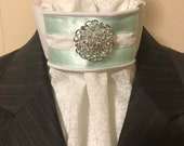 Mint and White Piping on White on White Print Cotton Stock Tie, Dressage Stock Tie, Eventing Stock Tie, Horse Show Tie, Handmade Unique