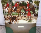 Shoulder Handbag Tote with Foxhunters, Horses, Riders and Hounds. Green and brown faux leather, antique brass hardware