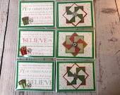 Christmas Card Holiday Season Handmade Card 4.25 x 5.5 Green Card with green, red, white. Handmade pinwheel card