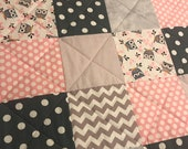 Baby Girl Quilt, Grey and Pink, Owls, Dots, Chevrons, Modern Baby Quilt, Homemade Quilt, Crib Quilt, Nursery Quilt