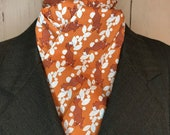 Rust orange with foxes and white gems Four Fold Stock Tie, 72 inch length, Foxhunting Stock Tie, Traditional Four Fold Stock Tie, horse show