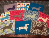 Mug Rug with Dachshund, Large Coaster for mugs and snacks, low carbon footprint, green living for doxie dog lovers