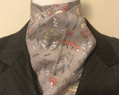 Four Fold Stock Tie, Foxhunting Traditional Stock Tie, Horse Show Stock Tie, Red Foxes, Yellow Foxes, Hedgehogs, Squirrels, Deer, on Grey