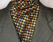 Fall Colors Houndstooth Four Fold Stock Tie, Foxhunting Stock Tie, Traditional Four Fold Stock Tie, horse show