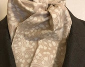 Four Fold Stock Tie Foxhunting Traditional Stock Tie Horse Show Unique and Fun!! White dandelion flowers seed headd on tan beige neutral