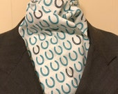 Four Fold Stock Tie, Foxhunting Traditional Stock Tie, Horse Show Stock Tie, Designer Cotton Fabric white with teal and grey horseshoes