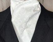 Four Fold Stock Tie, Formal White Stock Tie, Traditional Foxhunting Stock Tie, White on White Horseshoes