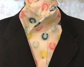 Four Fold Stock Tie, Foxhunting Traditional Stock Tie, Horse Show Stock Tie, Lucky Horseshoes