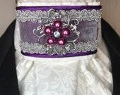 Purple Satin And Organza Ribbon w silver, purple trim on White on white print Stock Tie Pin Incld, Dressage Stock Tie, Eventing Stock Tie